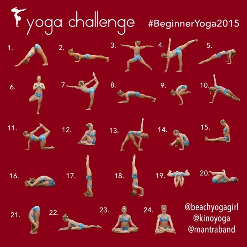beginners yoga challenge, december 2015, beach yoga girl, yoga for beginners, yoga poses